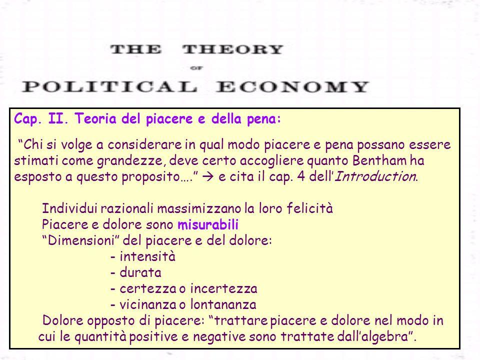 Cap. II. Teoria del piacere e della pena: