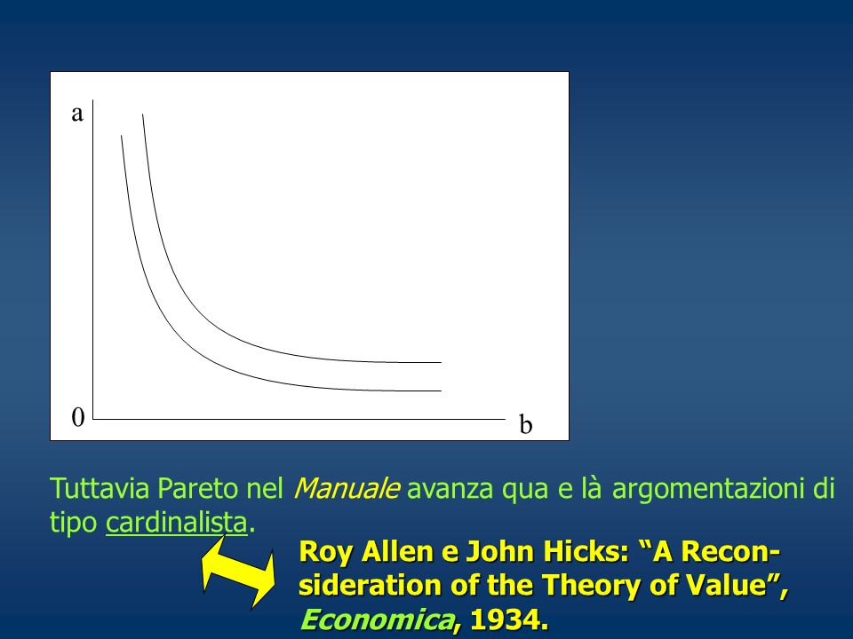 a b. Tuttavia Pareto nel Manuale avanza qua e là argomentazioni di tipo cardinalista.