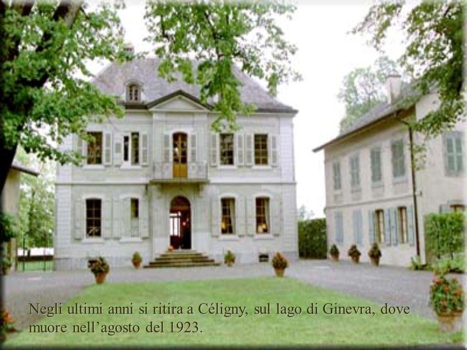 Negli ultimi anni si ritira a Céligny, sul lago di Ginevra, dove muore nell'agosto del 1923.