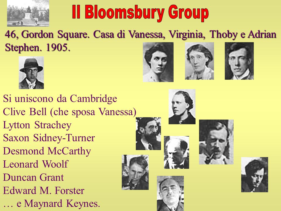 Il Bloomsbury Group 46, Gordon Square. Casa di Vanessa, Virginia, Thoby e Adrian Stephen. 1905. Si uniscono da Cambridge.