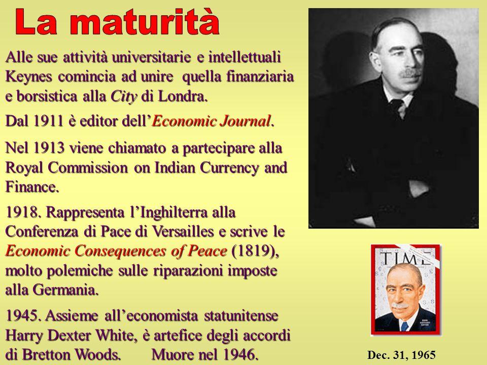 La maturità Alle sue attività universitarie e intellettuali Keynes comincia ad unire quella finanziaria e borsistica alla City di Londra.