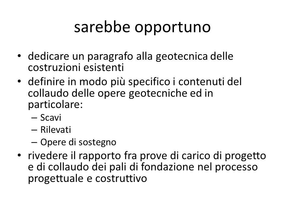 sarebbe opportuno dedicare un paragrafo alla geotecnica delle costruzioni esistenti.
