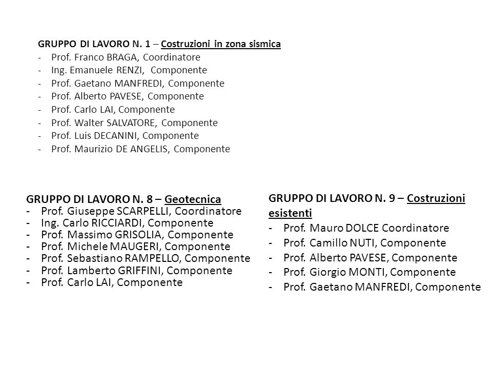 GRUPPO DI LAVORO N. 1 – Costruzioni in zona sismica - Prof