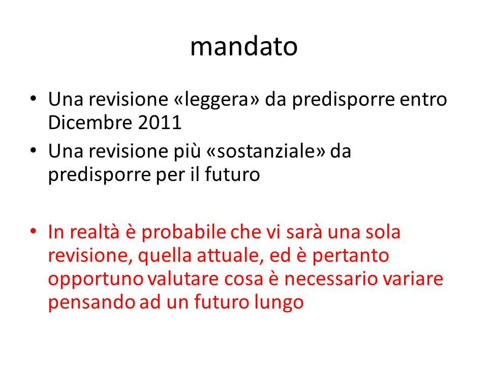 mandato Una revisione «leggera» da predisporre entro Dicembre 2011