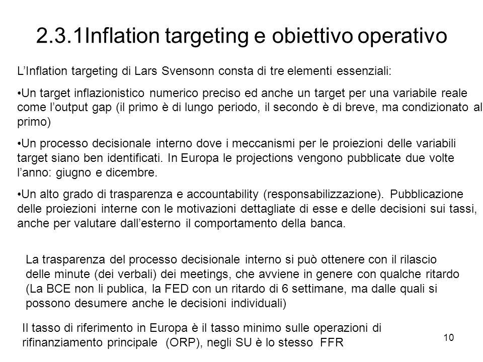 2.3.1Inflation targeting e obiettivo operativo