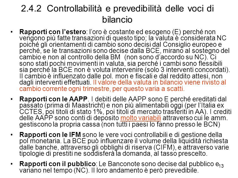 2.4.2 Controllabilità e prevedibilità delle voci di bilancio