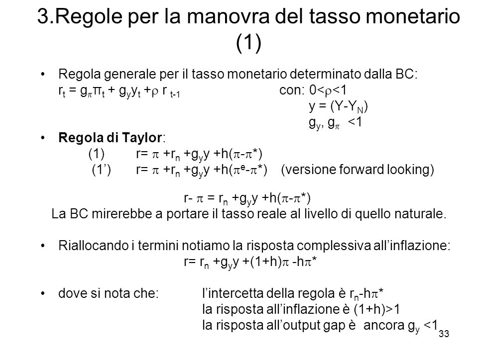 3.Regole per la manovra del tasso monetario (1)