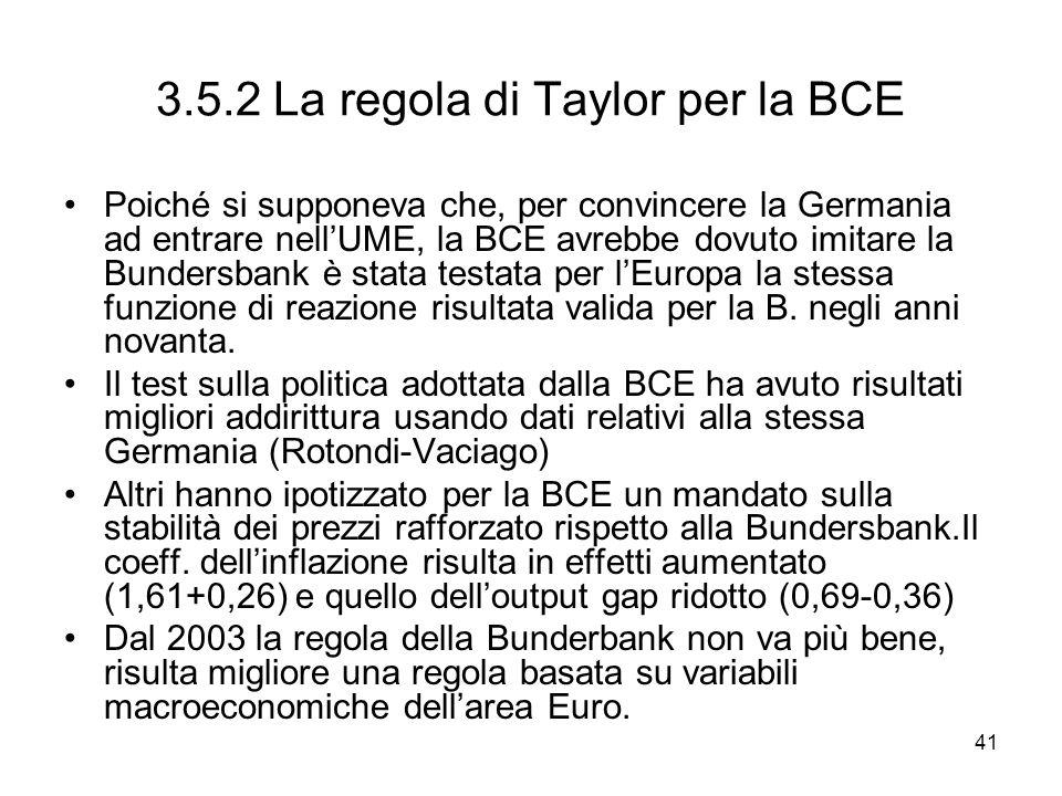 3.5.2 La regola di Taylor per la BCE