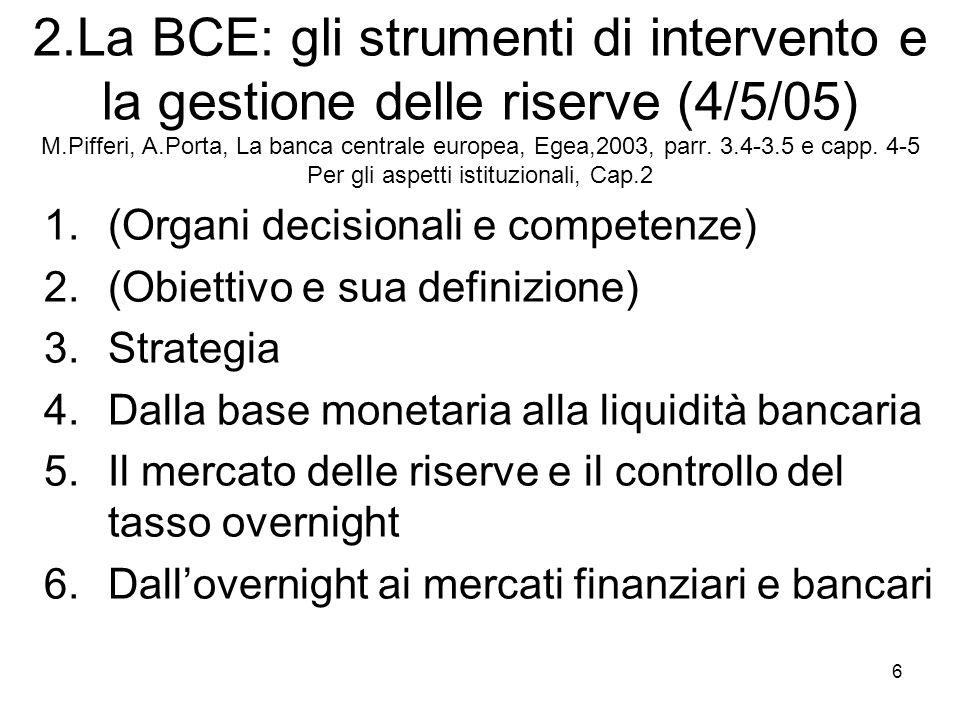 2.La BCE: gli strumenti di intervento e la gestione delle riserve (4/5/05) M.Pifferi, A.Porta, La banca centrale europea, Egea,2003, parr. 3.4-3.5 e capp. 4-5 Per gli aspetti istituzionali, Cap.2