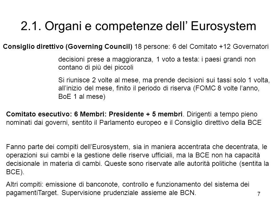 2.1. Organi e competenze dell' Eurosystem