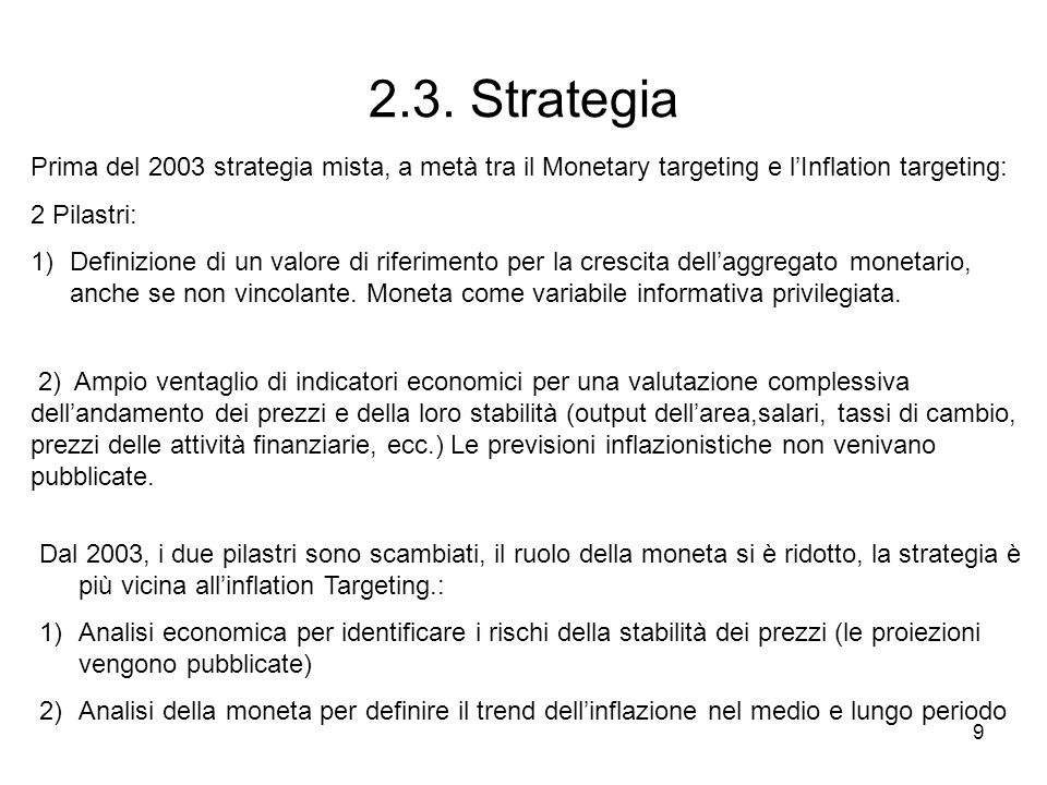 2.3. Strategia Prima del 2003 strategia mista, a metà tra il Monetary targeting e l'Inflation targeting: