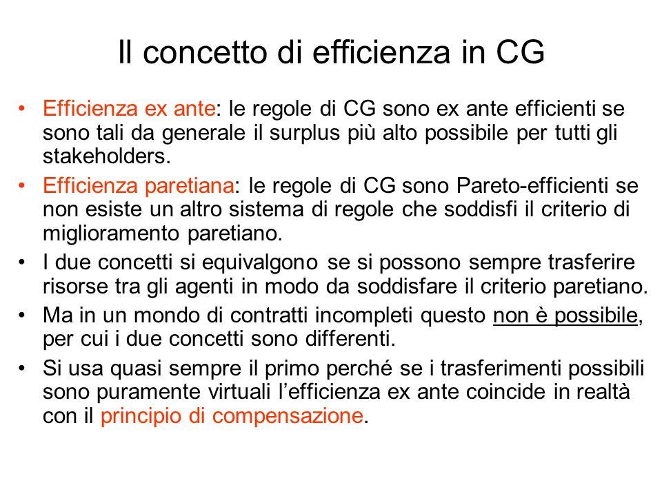 Il concetto di efficienza in CG