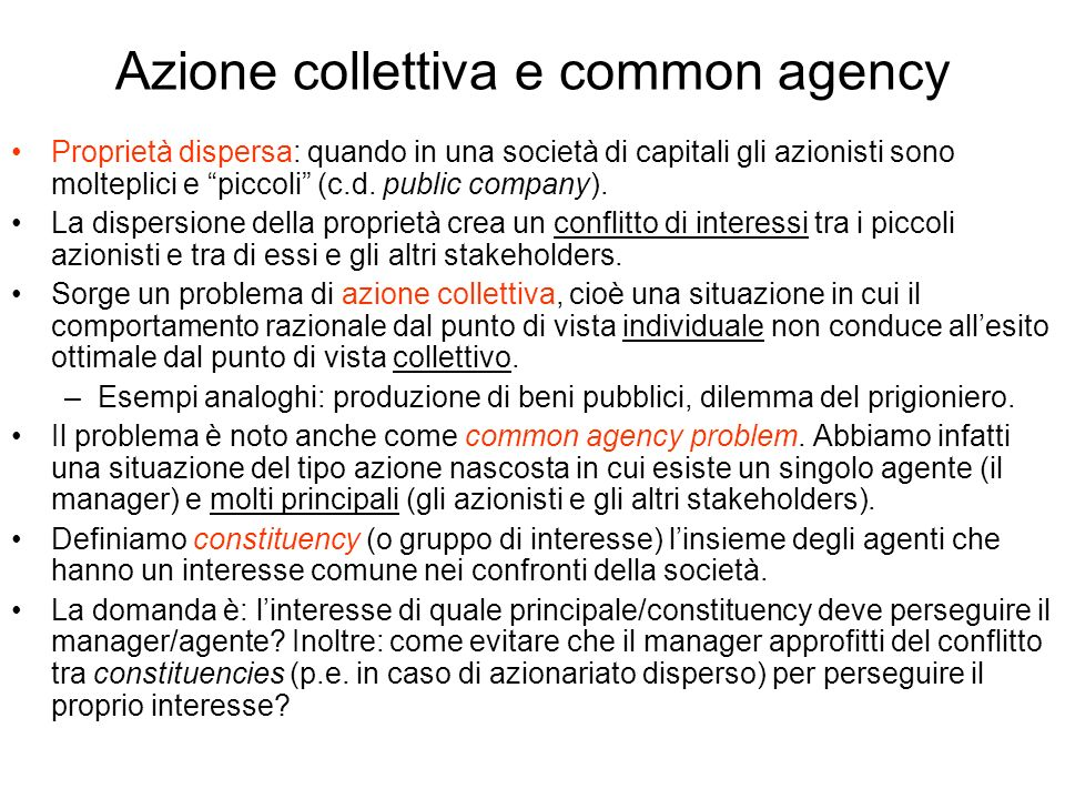 Azione collettiva e common agency