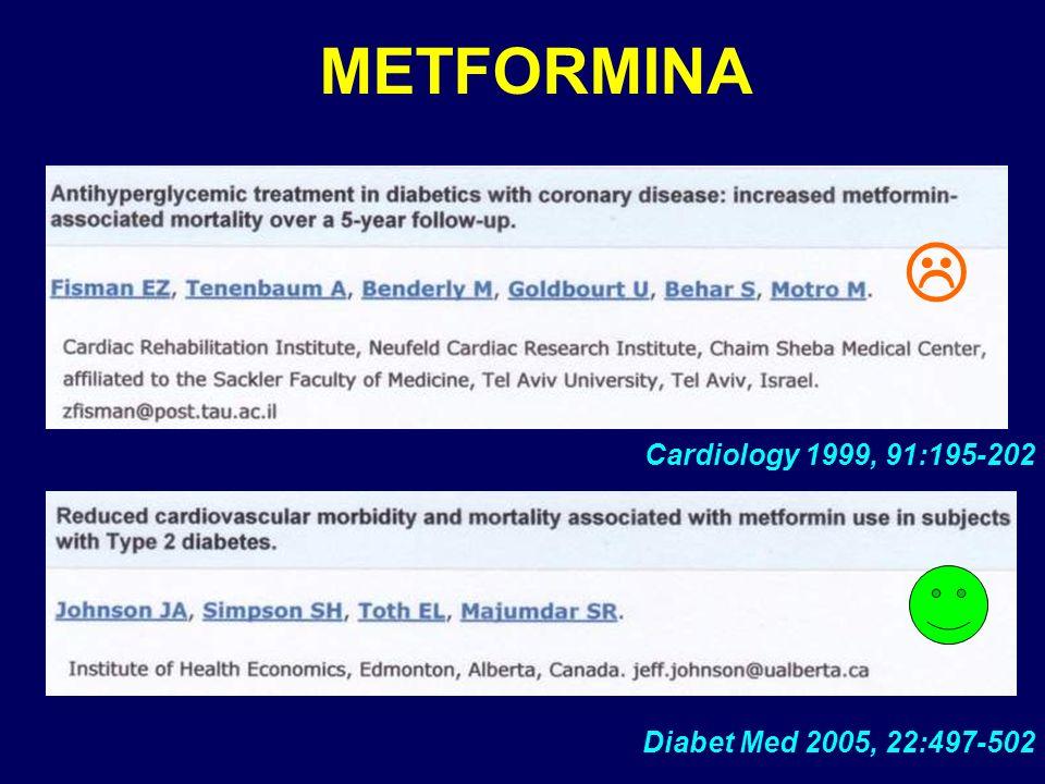 METFORMINA  Cardiology 1999, 91:195-202 Diabet Med 2005, 22:497-502