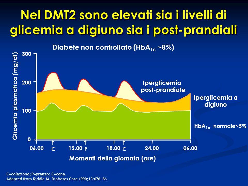 Nel DMT2 sono elevati sia i livelli di glicemia a digiuno sia i post-prandiali