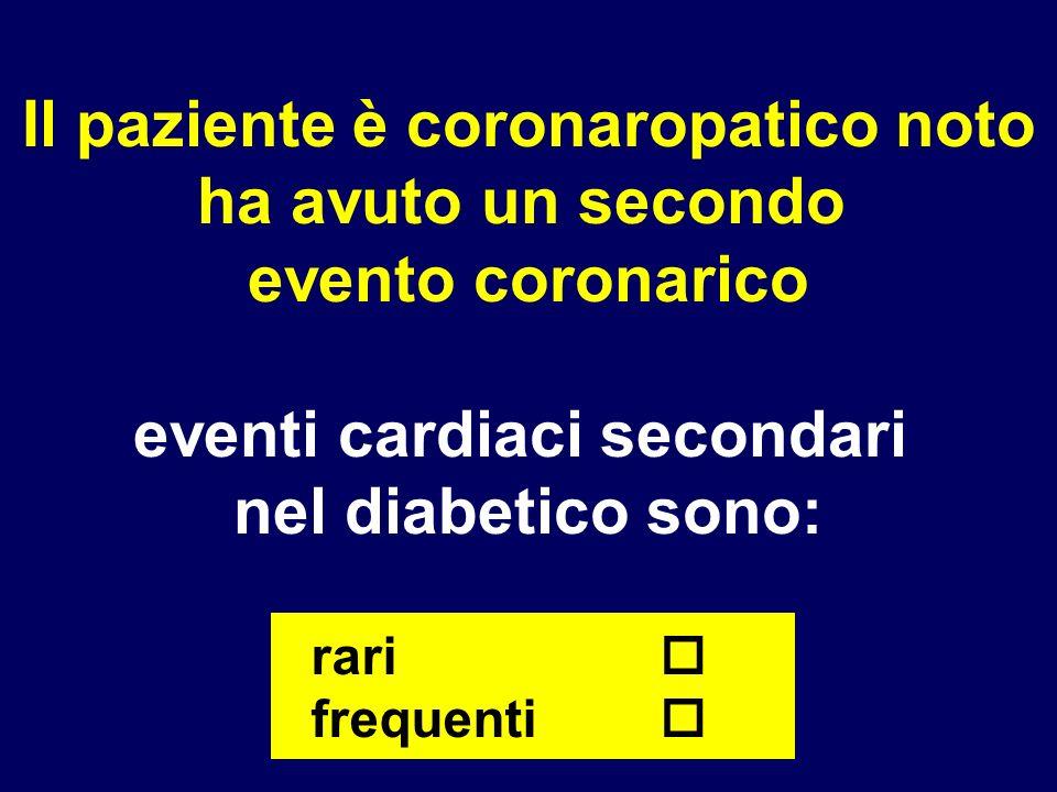 Il paziente è coronaropatico noto eventi cardiaci secondari