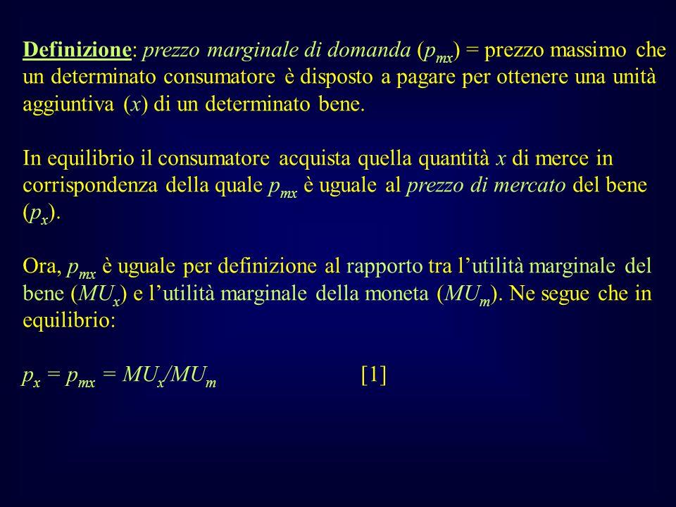 Definizione: prezzo marginale di domanda (pmx) = prezzo massimo che un determinato consumatore è disposto a pagare per ottenere una unità aggiuntiva (x) di un determinato bene.