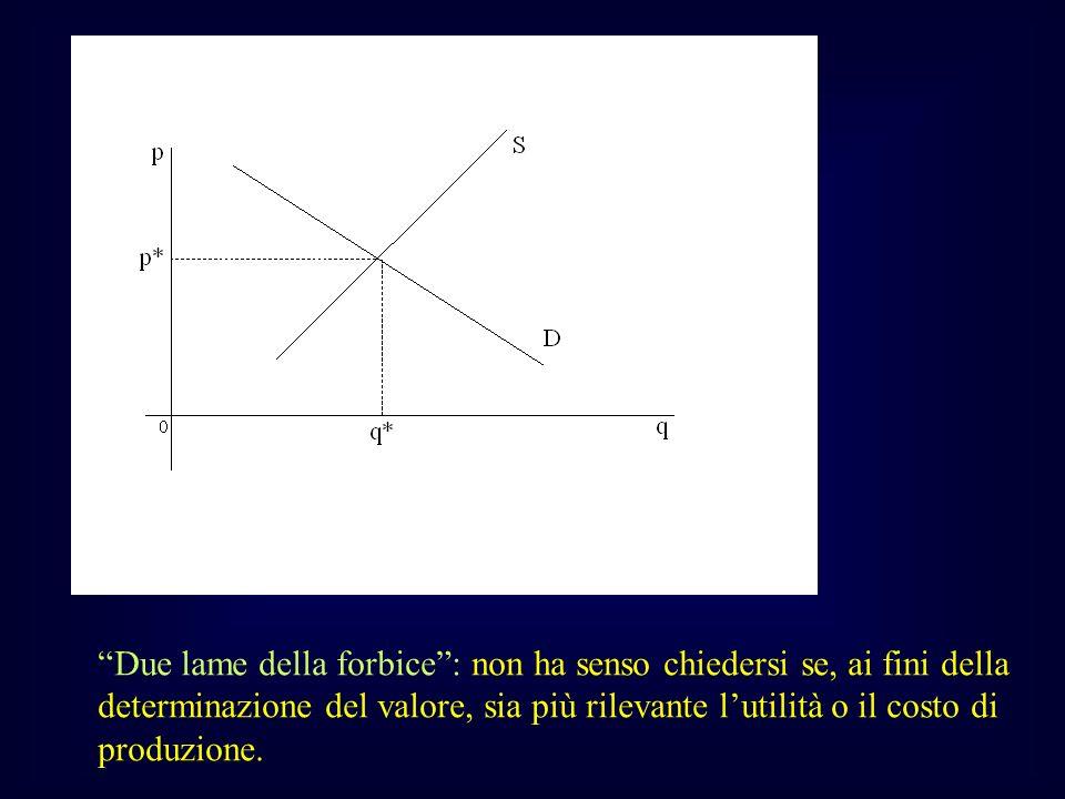 Due lame della forbice : non ha senso chiedersi se, ai fini della determinazione del valore, sia più rilevante l'utilità o il costo di produzione.