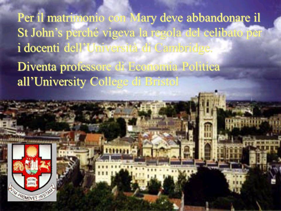Per il matrimonio con Mary deve abbandonare il St John's perché vigeva la regola del celibato per i docenti dell'Università di Cambridge.