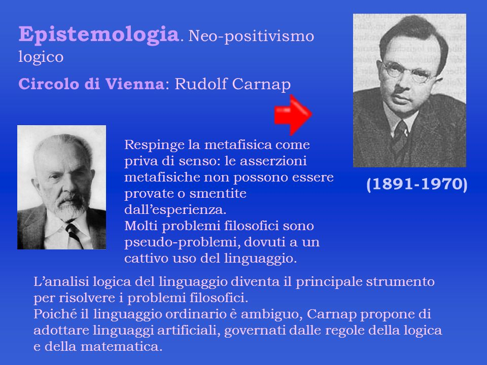 Epistemologia. Neo-positivismo logico