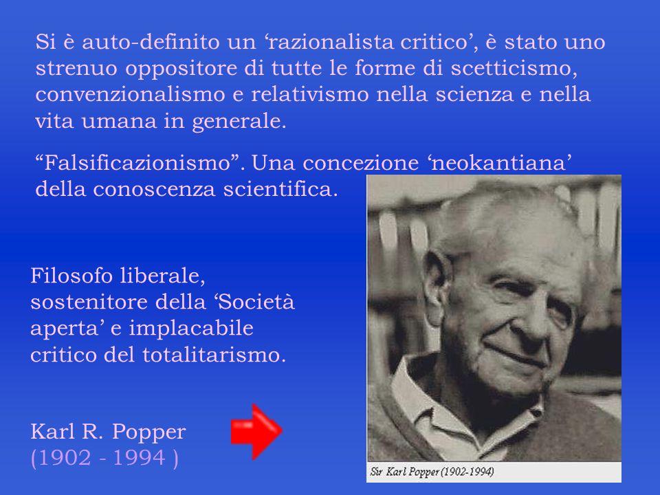 Si è auto-definito un 'razionalista critico', è stato uno strenuo oppositore di tutte le forme di scetticismo, convenzionalismo e relativismo nella scienza e nella vita umana in generale.