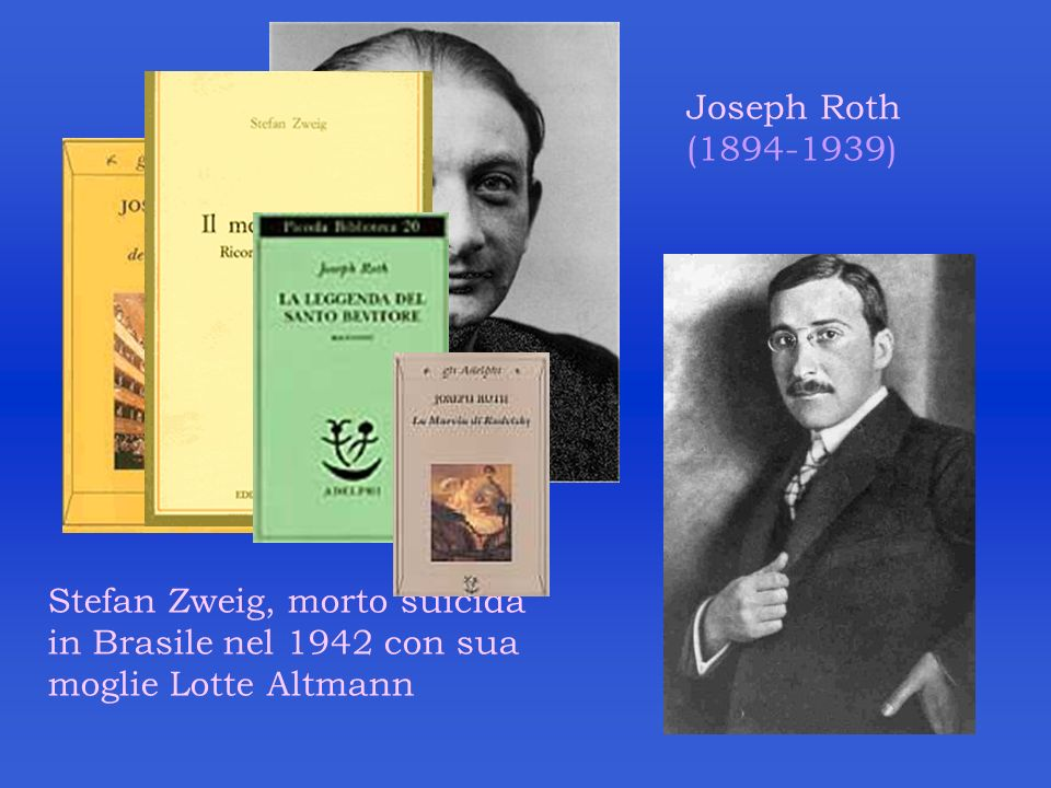 Joseph Roth (1894-1939) Stefan Zweig, morto suicida in Brasile nel 1942 con sua moglie Lotte Altmann.