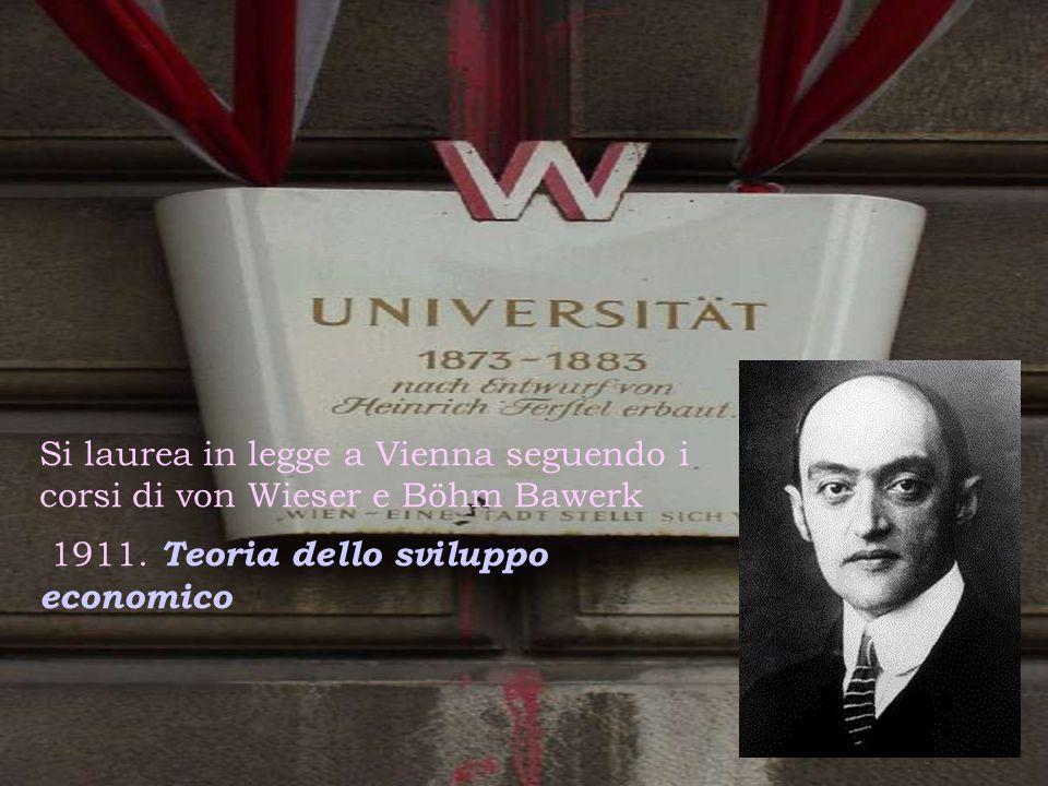 Si laurea in legge a Vienna seguendo i corsi di von Wieser e Böhm Bawerk