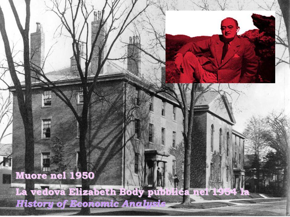 Muore nel 1950 La vedova Elizabeth Body pubblica nel 1954 la History of Economic Analysis
