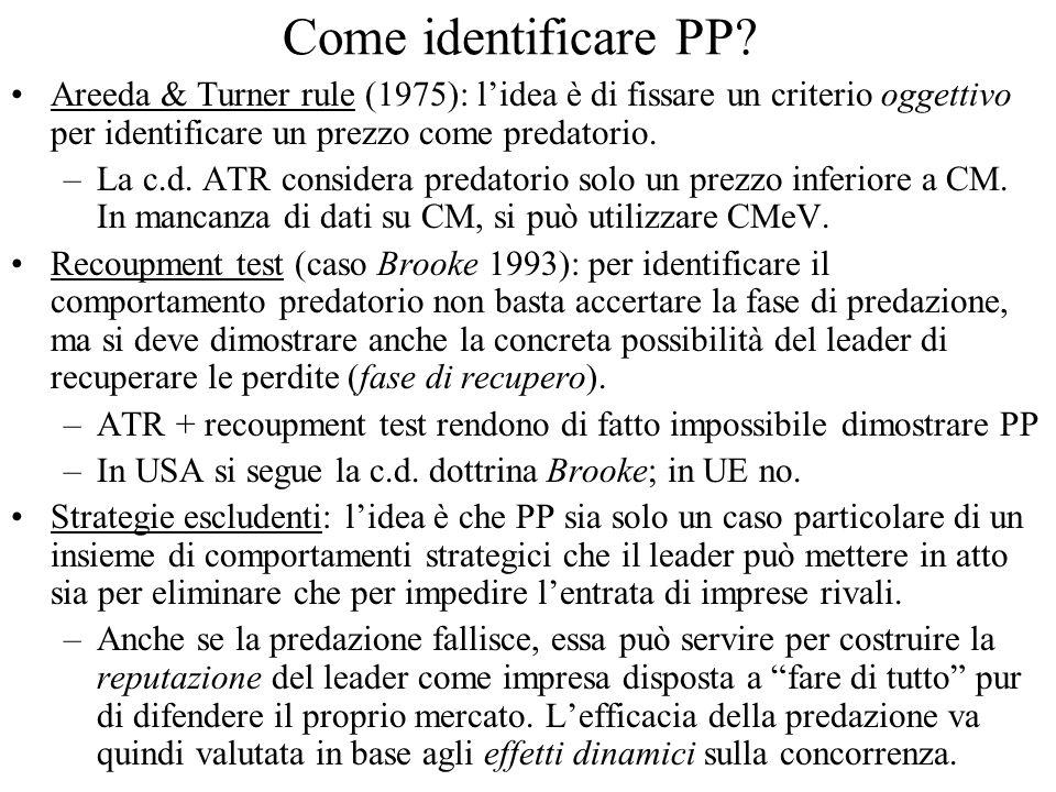 Come identificare PP Areeda & Turner rule (1975): l'idea è di fissare un criterio oggettivo per identificare un prezzo come predatorio.