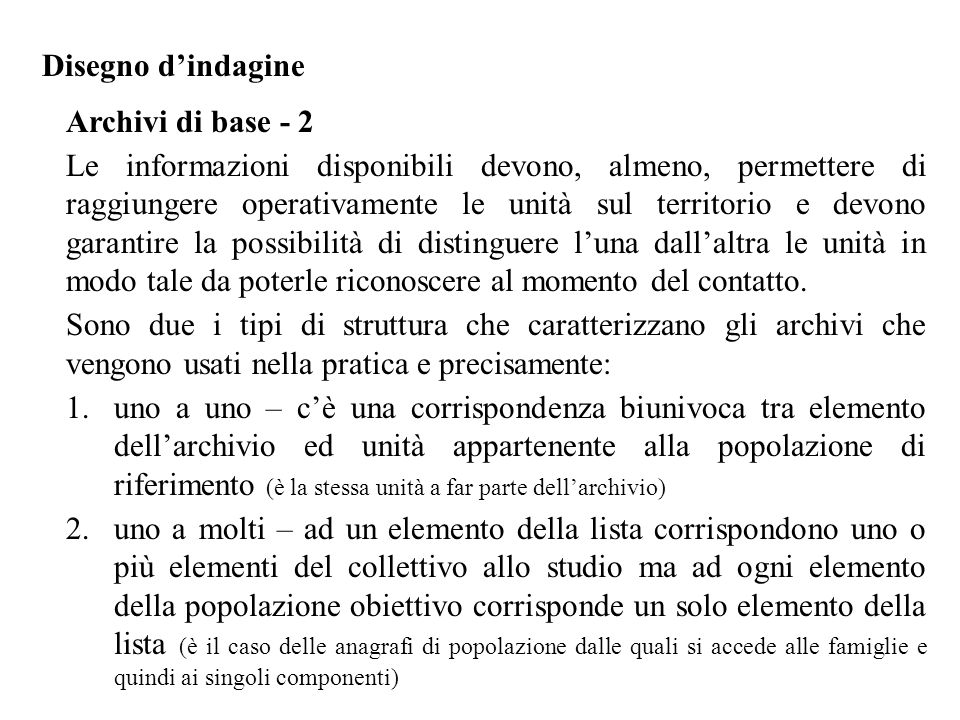 Disegno d'indagine Archivi di base - 2.
