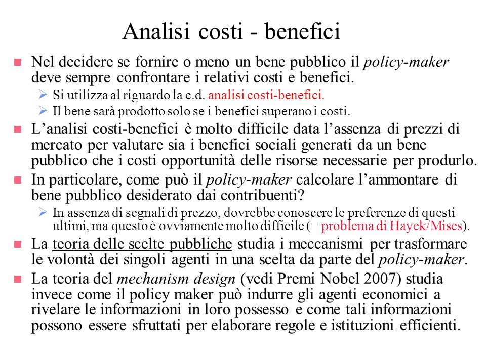 Analisi costi - benefici