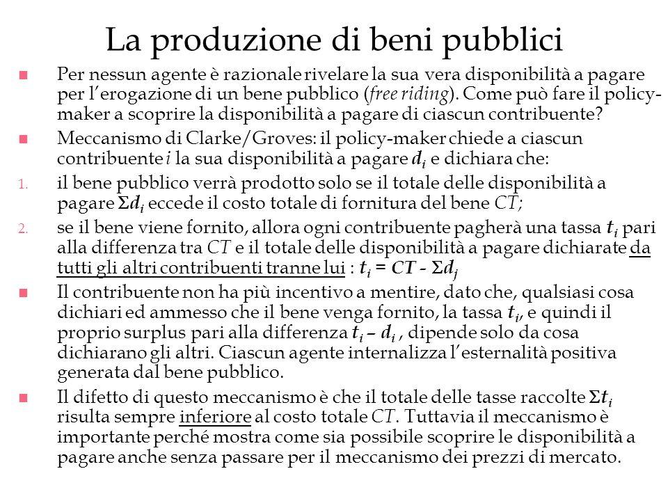 La produzione di beni pubblici
