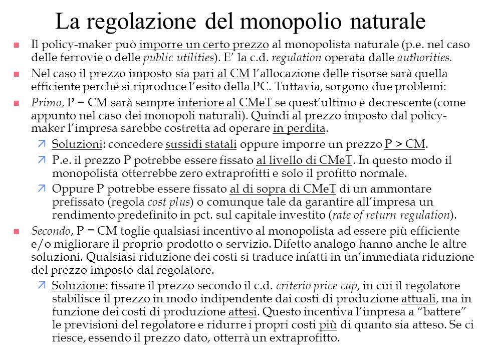 La regolazione del monopolio naturale