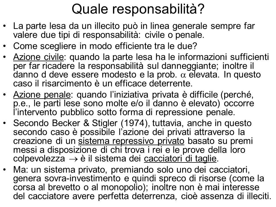Quale responsabilità La parte lesa da un illecito può in linea generale sempre far valere due tipi di responsabilità: civile o penale.