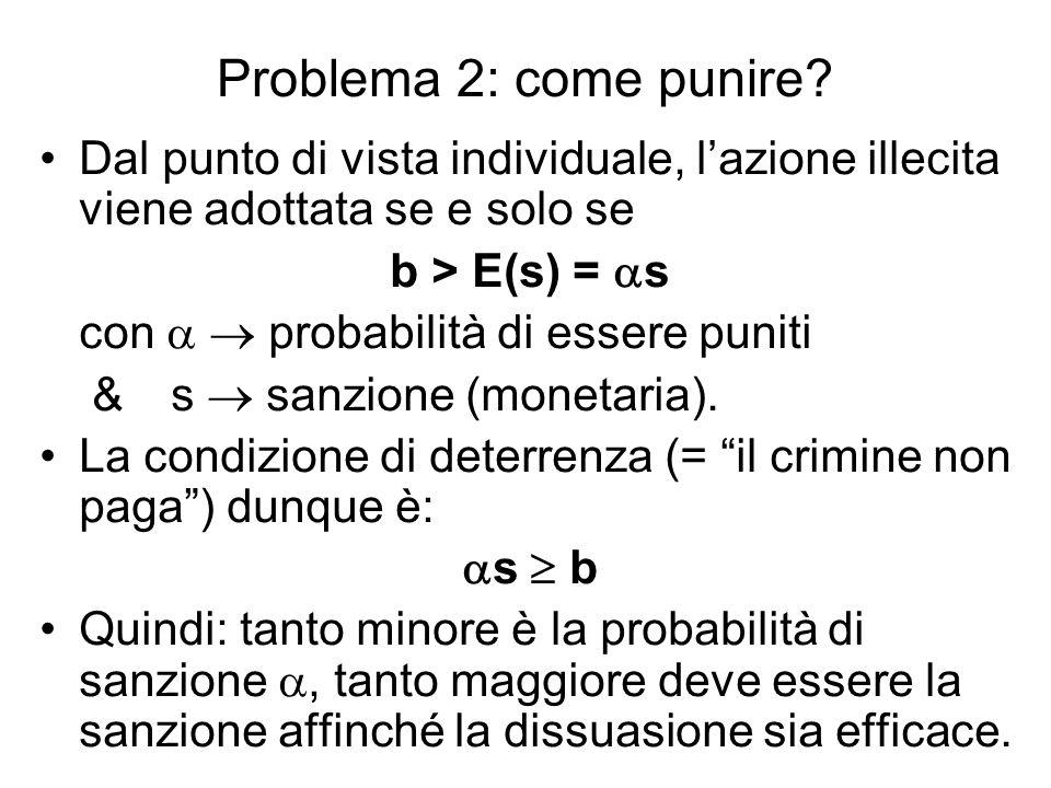 Problema 2: come punire Dal punto di vista individuale, l'azione illecita viene adottata se e solo se.