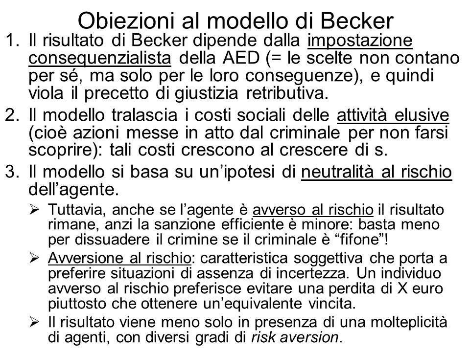 Obiezioni al modello di Becker