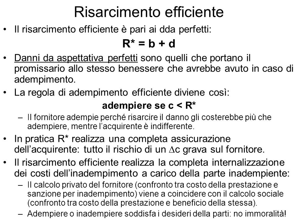 Risarcimento efficiente