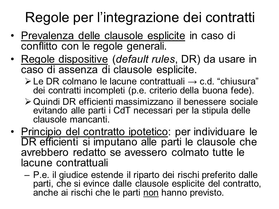 Regole per l'integrazione dei contratti
