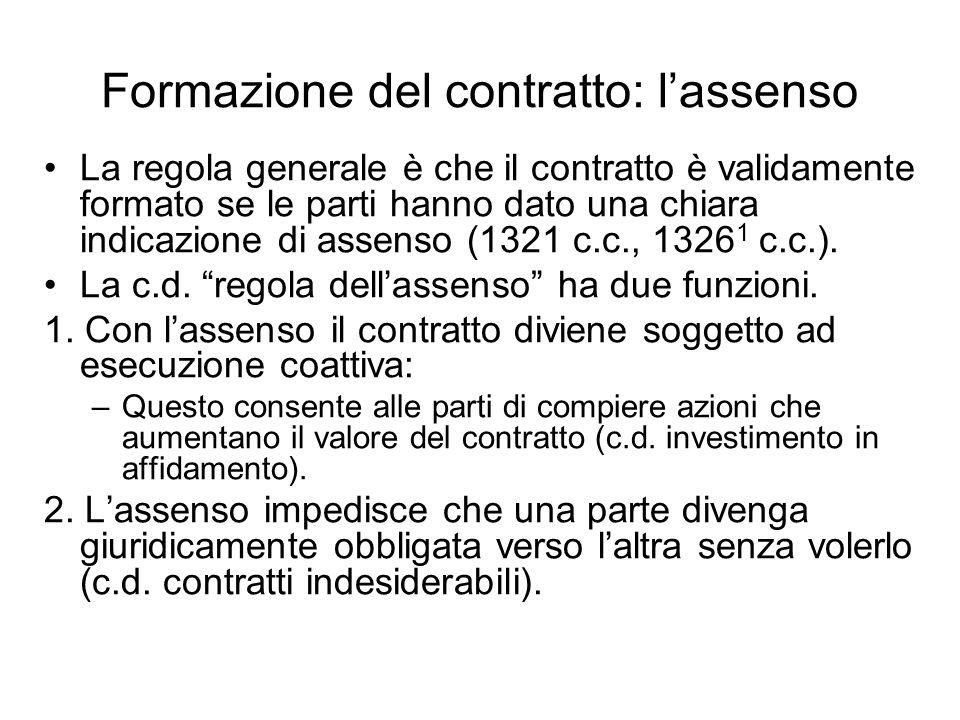 Formazione del contratto: l'assenso