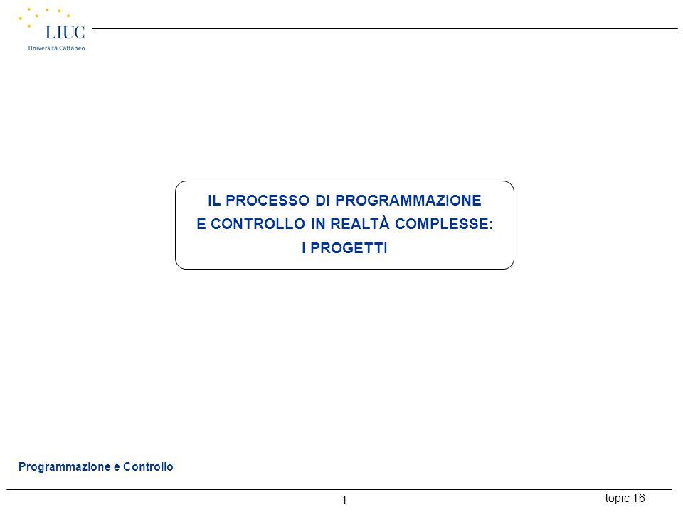 IL PROCESSO DI PROGRAMMAZIONE E CONTROLLO IN REALTÀ COMPLESSE: