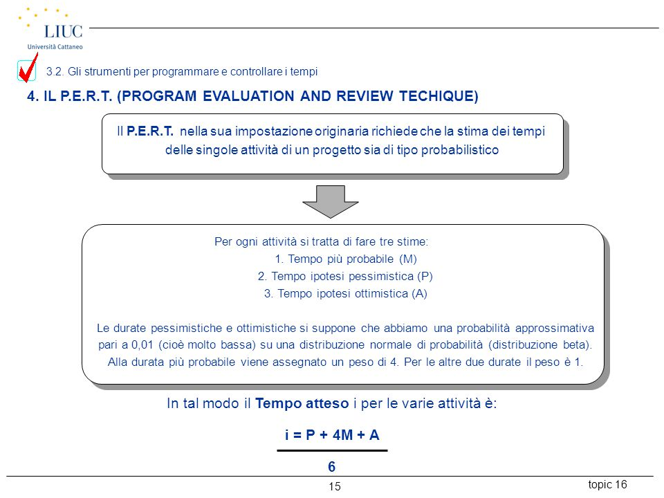 4. IL P.E.R.T. (PROGRAM EVALUATION AND REVIEW TECHIQUE)