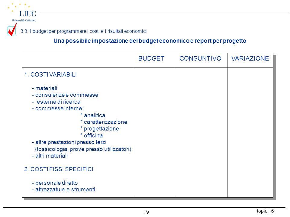 Una possibile impostazione del budget economico e report per progetto