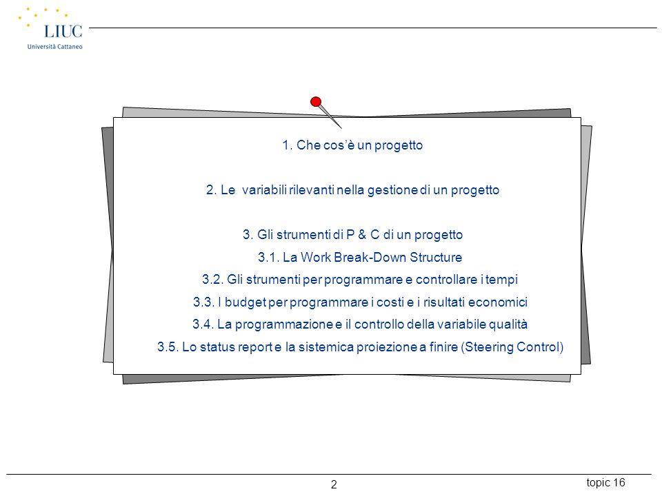 2. Le variabili rilevanti nella gestione di un progetto