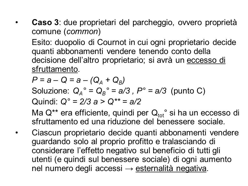 Caso 3: due proprietari del parcheggio, ovvero proprietà comune (common)