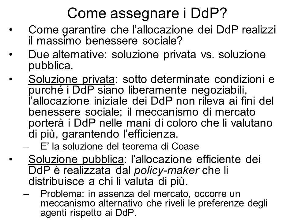Come assegnare i DdP Come garantire che l'allocazione dei DdP realizzi il massimo benessere sociale