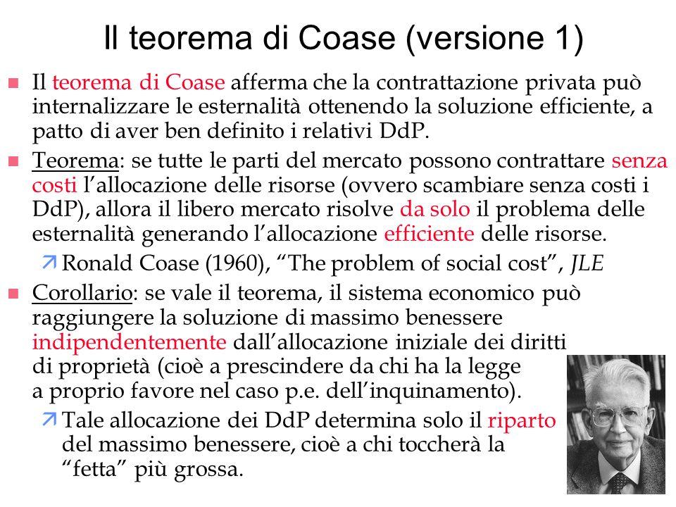 Il teorema di Coase (versione 1)