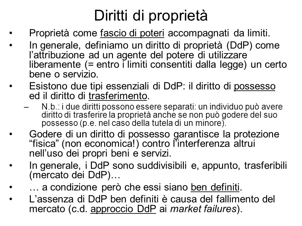 Diritti di proprietàProprietà come fascio di poteri accompagnati da limiti.