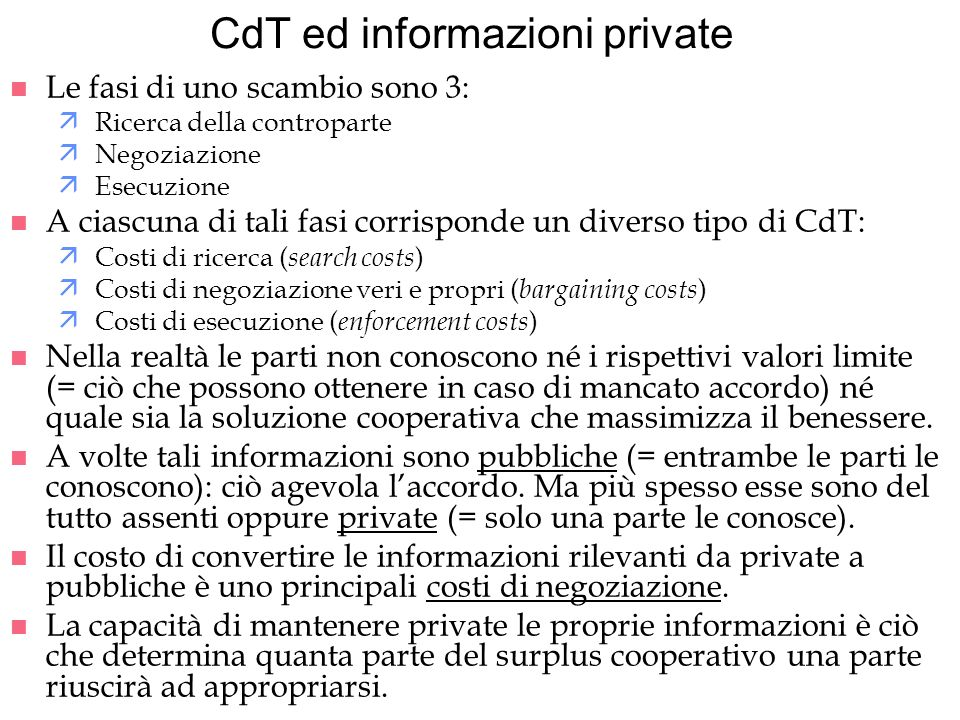 CdT ed informazioni private