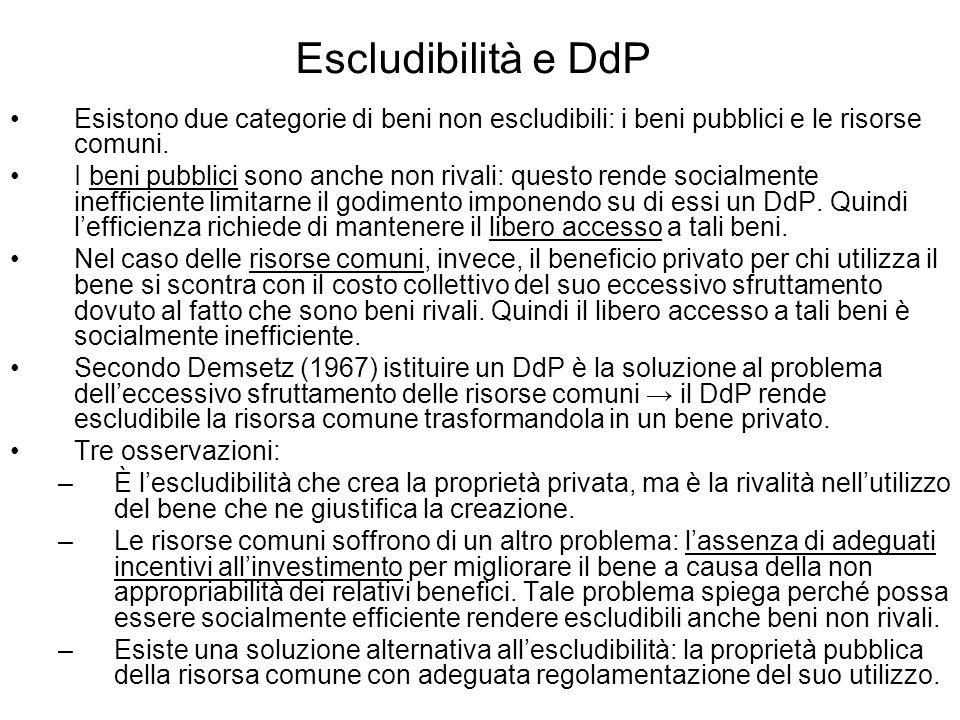 Escludibilità e DdP Esistono due categorie di beni non escludibili: i beni pubblici e le risorse comuni.