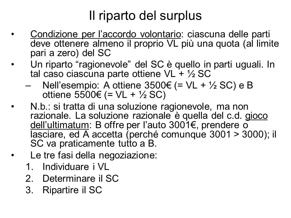 Il riparto del surplus